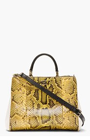 DOLCE & GABBANA Yellow Python Small Miss Sicily Shoulder Bag for women