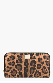 DOLCE & GABBANA Brown & Black Leather Leopard Print Continental Wallet for women