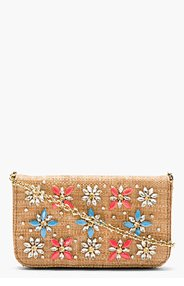 DOLCE & GABBANA Brown woven & embellished Natural Clutch for women