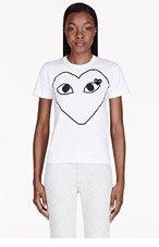 COMME DES GARÇONS PLAY White Heart Emblem Patch Appliqu頔-Shirt for women