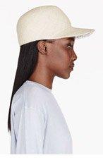 STELLA MCCARTNEY Beige straw & crocodile skin hat for women