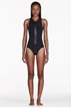 DION LEE Black Cut-Out Neoprene 3D Filter One Piece Swim Suit for women