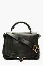 CHLOE Black Leather Marcie Medium Messenger Bag for women