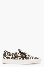 MOTHER OF PEARL Brown & Ivory Leopard Leather Trim Slip-On Sneakers for women