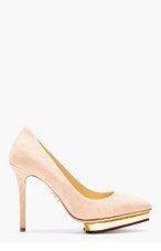 CHARLOTTE OLYMPIA Blush Suede Pointed Debbie Pumps for women
