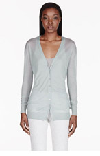 BURBERRY PRORSUM Pale sage cashmere-silk cardigan for women