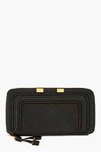 CHLOE Black leather long zipped Marcie wallet for women