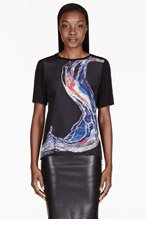 DION LEE Black Silk Panel Oil & Water T-Shirt for women
