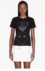 COMME DES GARÇONS PLAY Black Two-Heart T-Shirt for women