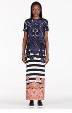 MOTHER OF PEARL Navy Silk Crepe Moriri Maxi Dress for women
