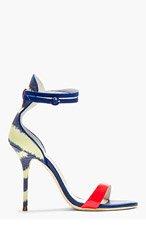 SOPHIA WEBSTER Blue Leather & canvas striped Nicole heels for women
