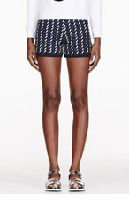OPENING CEREMONY Black knit foil print Calyx shorts for women