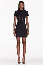 DION LEE Black Scuba Laser-Cut Neoprene Dress for women