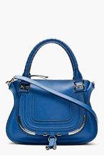 CHLOE Navy leather metal-trimmed Marcie Medium shoulder bag for women