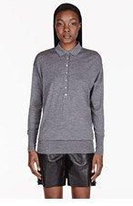 BURBERRY PRORSUM Heather grey wool polo shirt for women