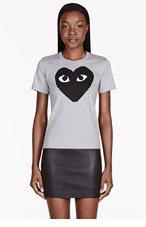 COMME DES GARÇONS PLAY Heathered Grey Heart Emblem T-Shirt for women