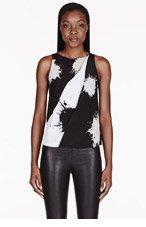 3.1 PHILLIP LIM Black silk White splatter print cross-draped blouse for women