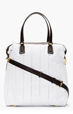 MAIYET White Leather Inverted Pleat Tote Bag for women