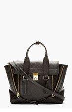 3.1 PHILLIP LIM Black Textured Leather Pashli Medium Satchel for women