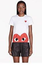 COMME DES GARÇONS PLAY White Red peek-a-boo Emblem T-Shirt for women