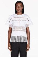 CHLOE White Geometric Lace T-Shirt for women