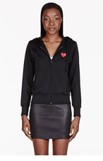 COMME DES GARÇONS PLAY Black Zip Emblem Hooded Sweater for women