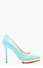 CHARLOTTE OLYMPIA Turquoise Suede Pointed Debbie Pumps for women