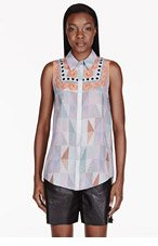 MOTHER OF PEARL Pale Grey Silk Crepe Umiko Blouse for women