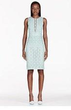 BURBERRY PRORSUM Mint Green Pleat-Front Lace Dress for women