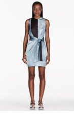 OPENING CEREMONY Steel Blue Echo Drapped Watercolor Dress for women