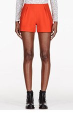 MOTHER OF PEARL Orange Virgin Wool twill Nyos Shorts for women