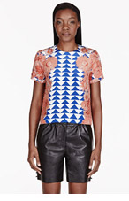 MOTHER OF PEARL Coral Crepe De Chine Boxy Juno Heave T-shirt for women