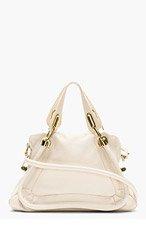 CHLOE Light Beige Grained Leather Medium Paraty Shoulder Bag for women