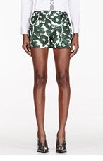 MOTHER OF PEARL Green brushstroke floral print Nyos Shorts for women