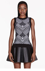 OPENING CEREMONY Black & white geometric knit Armour vest for women