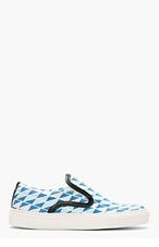 MOTHER OF PEARL Blue Geometric Leather Trim Slip-On Sneakers for women