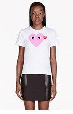 COMME DES GARÇONS PLAY White & Pink Heart Emblem T-Shirt for women