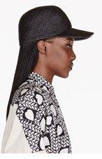 STELLA MCCARTNEY Black straw & crocodile skin hat for women