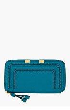 CHLOE Deep teal leather Marcie Long Zipped Wallet for women