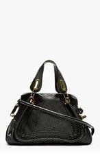 CHLOE Black Grained Leather Medium Paraty Shoulder Bag for women