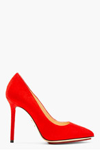 CHARLOTTE OLYMPIA Red Suede Pointed Monroe Pumps for women