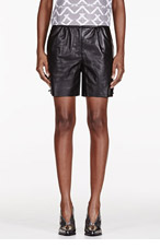 MAIYET Black leather Straight Shorts for women