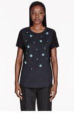 3.1 PHILLIP LIM Black paneled dandelion embellished t-shirt for women