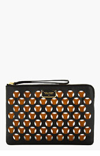 MARC JACOBS Black & Cognac Double Perforated Clutch for women
