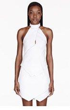DION LEE White Zip Halter Vertigo Blouse for women