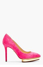 CHARLOTTE OLYMPIA Fuchsia Suede Pointed Debbie Pumps for women