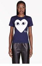 COMME DES GARÇONS PLAY Navy Heart Emblem T-Shirt for women