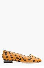 CHARLOTTE OLYMPIA Black & Tan Hyena Print Calf-Hair Kitty Flat for women