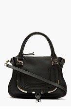 CHLOE Black leather metal-trimmed Marcie Medium shoulder bag for women