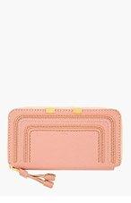 CHLOE Dusty rose leather Marcie long zipped wallet for women